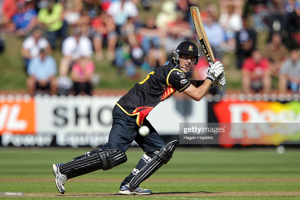 Cameron Borgas of Wellington bats during the HRV Cup Twenty20 Preliminary Final between the Wellington Firebirds and the Auckland Aces at Basin Reserve on January 18, 2013 in Wellington, New Zealand.