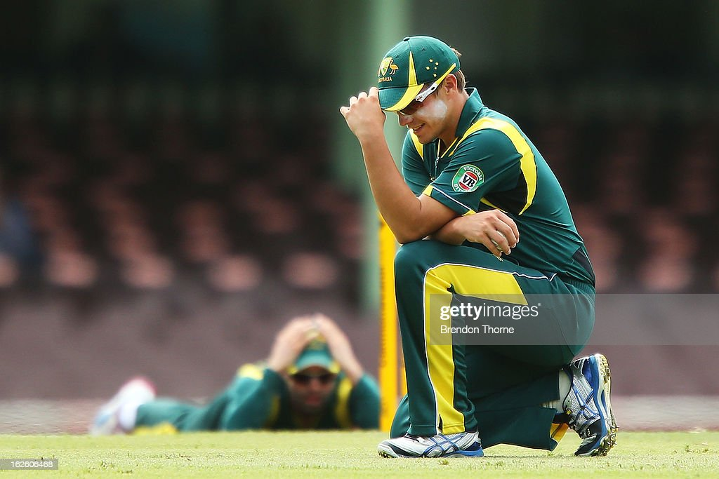 Cameron Boyce Australia 'A' reacts after a close run out during the International Tour match between Australia 'A' and the England Lions at Sydney Cricket Ground on February 25, 2013 in Sydney, Australia.