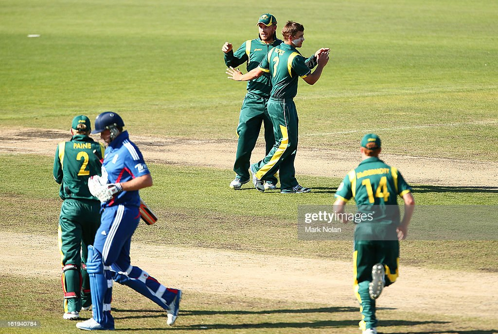 Cameron Boyce of Australia A celebrates getting a wicket during the international tour match between Australia 'A' and England at Blundstone Arena on February 18, 2013 in Hobart, Australia.