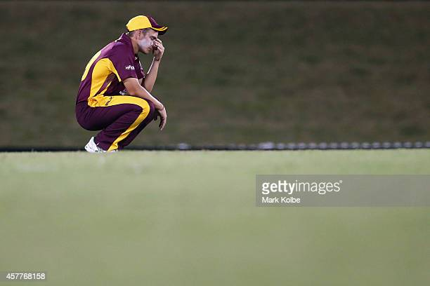Cameron Boyce of the Bulls looks dejected after defeat during the Matador BBQs One Day Cup Elimination Final match between Queensland and New South...