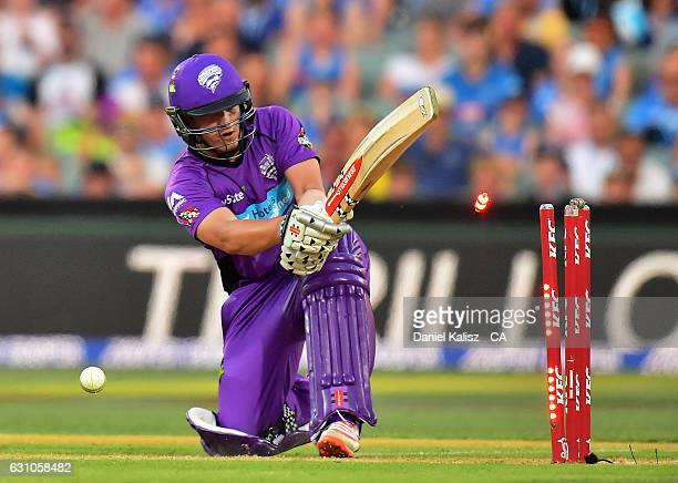 Cameron Boyce of the Hobart Hurricanes is bowled by Chris Jordan of the Adelaide Strikers during the Big Bash League match between the Adelaide...