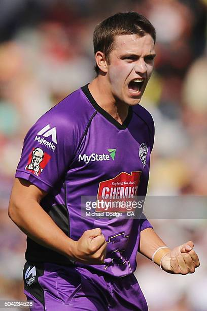 Cameron Boyce of the Hurricanes celebrates his wicket of Adam Voges during the Big Bash League match between the Hobart Hurricanes and the Perth...