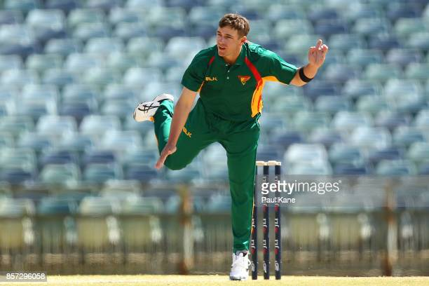 Cameron Boyce of the Tigers bowls during the JLT One Day Cup match between Victoria and Tasmania at WACA on October 4 2017 in Perth Australia