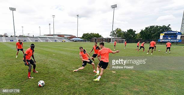 Cameron Brannagan and James Milner of Liverpool during a training session at St Louis University on August 1 2016 in St Louis Missouri