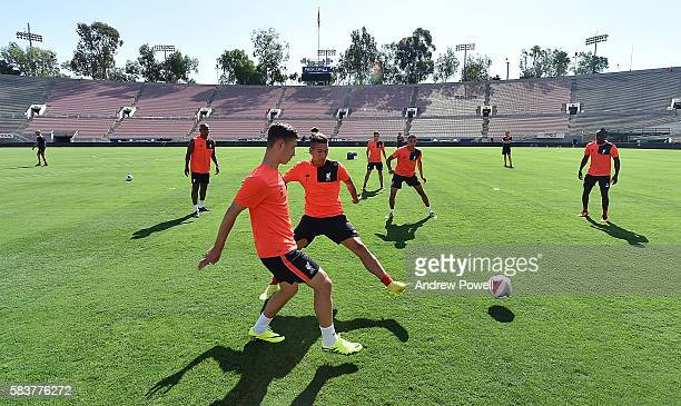 Cameron Brannagan and Roberto Firmino of Liverpool during a training session at the Rose Bowl on July 27 2016 in Los Angeles California