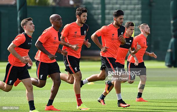 Cameron Brannagan Andre Wisdom Marko Gurjic Emre Can Phlippe Coutinho and Alberto Moreno of Liverpool during a training session at Melwood Training...