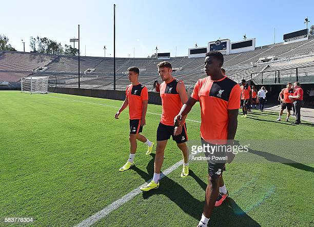 Cameron Brannagan Connor Randall and Sheyi Ojo of Liverpool during a training session at the Rose Bowl on July 27 2016 in Los Angeles California