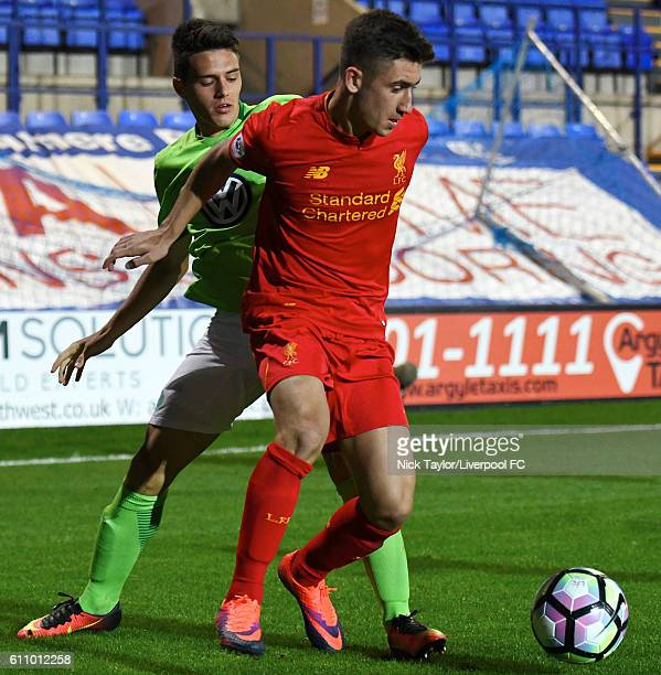 Cameron Brannagan of Liverpool and Josip Brekalo of Wolfsburg in action during the Liverpool v VFL Wolfsburg game at Prenton Park on September 28...