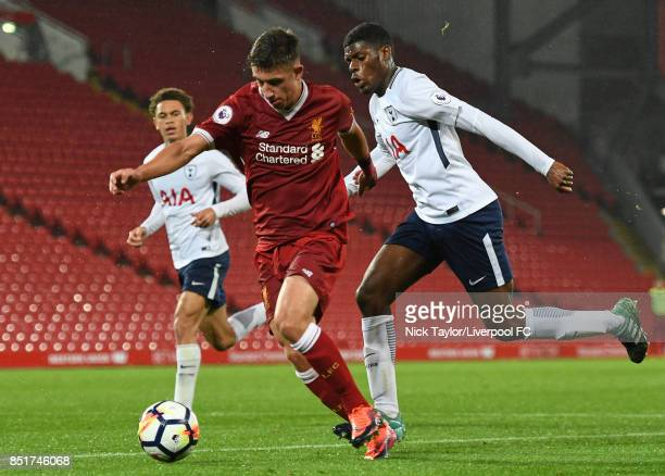 Cameron Brannagan of Liverpool and Timothy Eyoma of Tottenham Hotspur in action during the Liverpool v Tottenham Hotspur Premier League 2 game at...