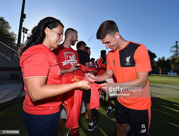 Cameron Brannagan of Liverpool during a a signing session at the end of the training session at Stanford University on July 23 2016 in Palo Alto...