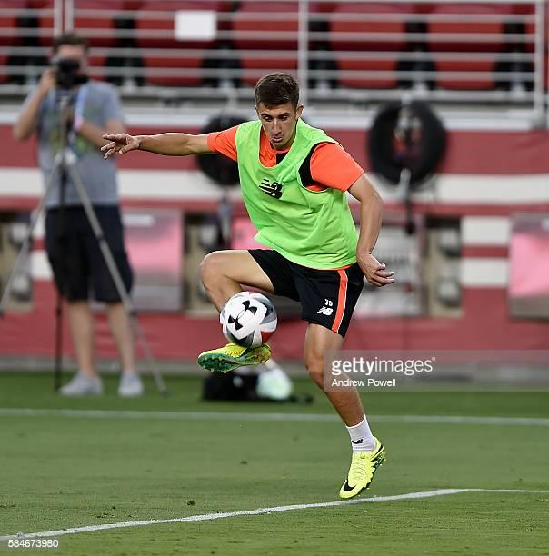 Cameron Brannagan of Liverpool during a training session at Levi's Stadium on July 29 2016 in Santa Clara California