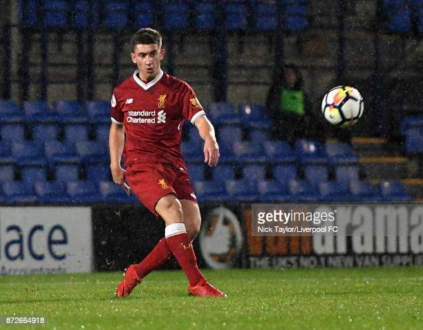 Cameron Brannagan of Liverpool in action during the Liverpool U23 v Newcastle United U23 Premier League International Cup game at Prenton Park on...