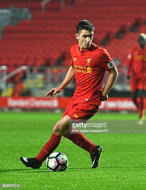 Cameron Brannagan of Liverpool in action during the Premier League 2 match between Liverpool and Arsenal at Anfield on December 12 2016 in Liverpool...