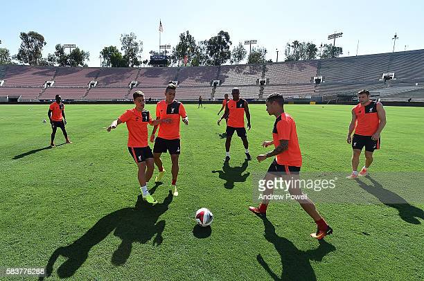 Cameron Brannagan Roberto Firmino and Philippe Coutinho of Liverpool during a training session at the Rose Bowl on July 27 2016 in Los Angeles...