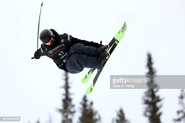 Cameron Broderick takes a practice run in the halfpipe during the 2017 US Freeskiing Grand Prix at Copper Mountain on December 13 2016 in Copper...