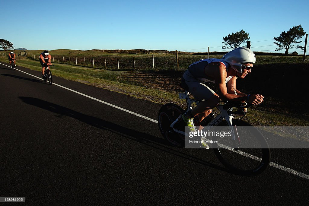 Cameron Brown of Auckland competes in the Elite Men's race during the Port of Tauranga Half Ironman on January 5, 2013 in Auckland, New Zealand.