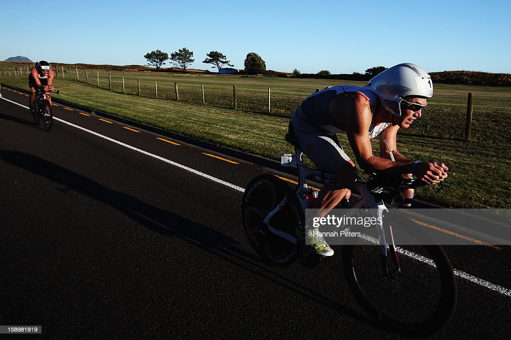 Cameron Brown of Auckland competes in the Port of Tauranga Half Ironman on January 5, 2013 in Auckland, New Zealand.