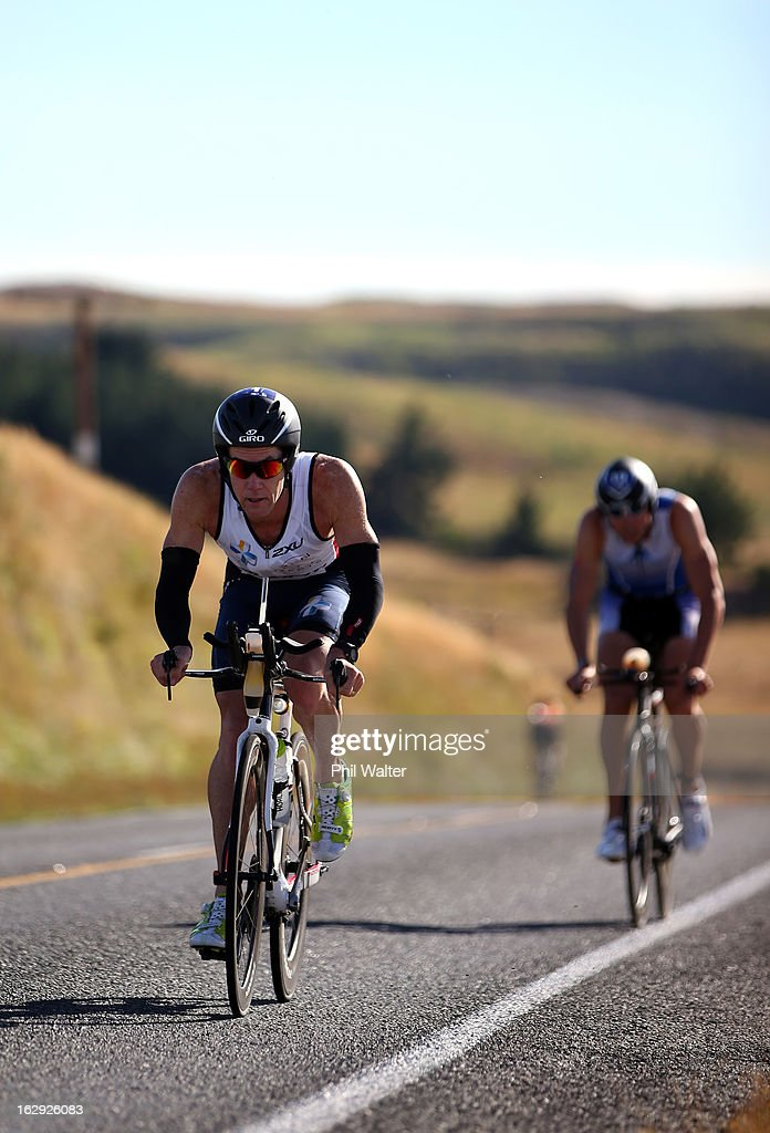 Cameron Brown of New Zealand cycles during the New Zealand Ironman on March 2, 2013 in Taupo, New Zealand.