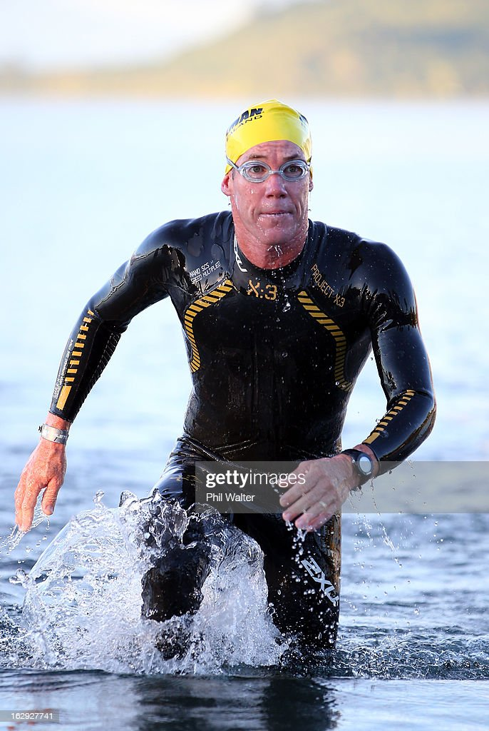 Cameron Brown of New Zealand exits the water during the New Zealand Ironman on March 2, 2013 in Taupo, New Zealand.