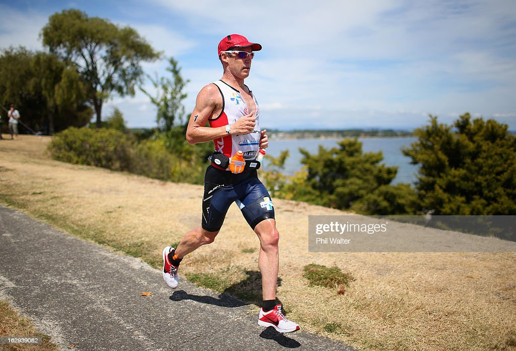 Cameron Brown of New Zealand runs during the New Zealand Ironman on March 2, 2013 in Taupo, New Zealand.