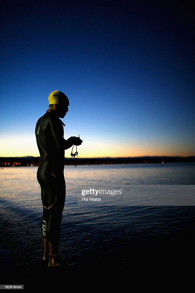 Cameron Brown of New Zealand warms up before the New Zealand Ironman on March 2, 2013 in Taupo, New Zealand.