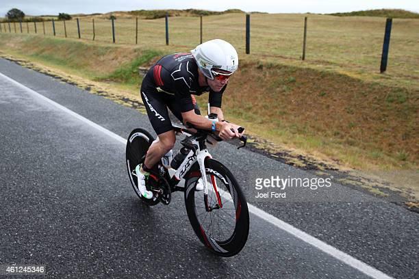 Cameron Brown on the bike leg of the Port of Tauranga Half Ironman on January 10 2015 in Tauranga New Zealand