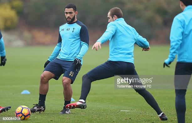 Cameron CarterVickers and Pau Lopez of Tottenham during the Tottenham Hotspur training session at Tottenham Hotspur Training Centre on December 16...