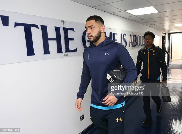 Cameron CarterVickers of Tottenham Hotspur arrives prior to the Emirates FA Cup Fourth Round match between Tottenham Hotspur and Wycombe Wanderers at...