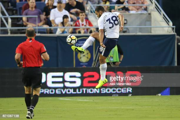Cameron CarterVickers of Tottenham Hotspur leaps for the ball during the International Champions Cup 2017 match between Paris SaintGermain and...