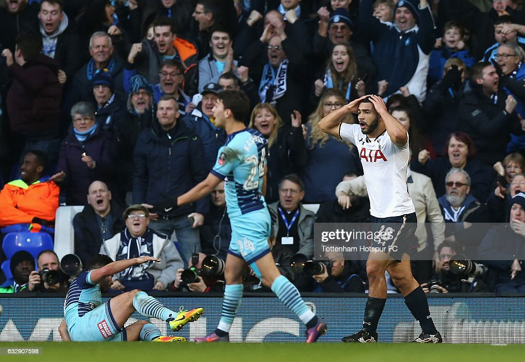 Cameron Carter-Vickers of Tottenham Hotspur reacts after giving away a penalty during the Emirates FA Cup Fourth Round match between Tottenham Hotspur and Wycombe Wanderers at White Hart Lane on January 28, 2017 in London, England.