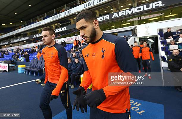 Cameron CarterVickers of Tottenham Hotspur walks out to warm up prior to kick off during The Emirates FA Cup Third Round match between Tottenham...