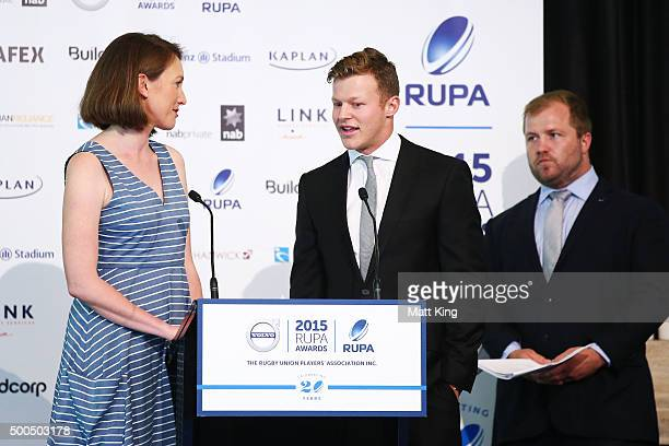 Cameron Clark accepts the Men's Sevens Players' Player Award during the 2015 Rugby Unions Players Association Awards at The Ivy on December 9 2015 in...