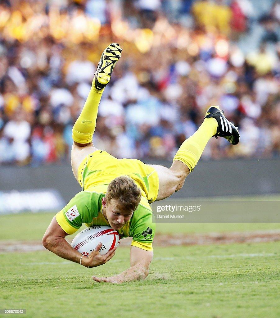 Cameron Clark of Australia falls during the 20146 Sydney Sevens final match between Australia and New Zealand at Allianz Stadium on February 7, 2016 in Sydney, Australia.