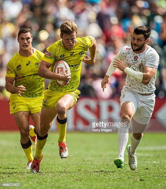 Cameron Clark of Australia looks on during the Australia vs England HSBC Sevens World Series Plates Semi Finals match as part of the Hong Kong Sevens...