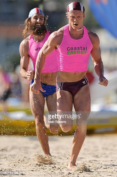 Cameron Cole of Mooloolaba SLSC is competes in the Open Men's Ironman semi final during the 2013 Australian National Surf Lifesaving Titles on April...