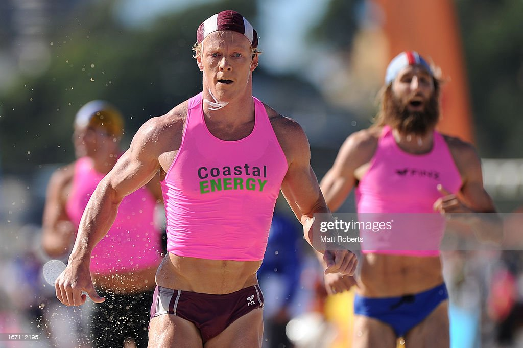 Cameron Cole of Mooloolaba SLSC is competes in the Open Men's Ironman semi final during the 2013 Australian National Surf Lifesaving Titles on April 21, 2013 on the Gold Coast, Australia.