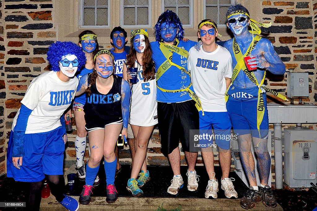 Cameron Crazies of the Duke Blue Devils pose for a photo outside Cameron Indoor Stadium prior to a game against the North Carolina Tar Heels on February 13, 2013 in Durham, North Carolina. Duke defeated North Carolina 73-68.