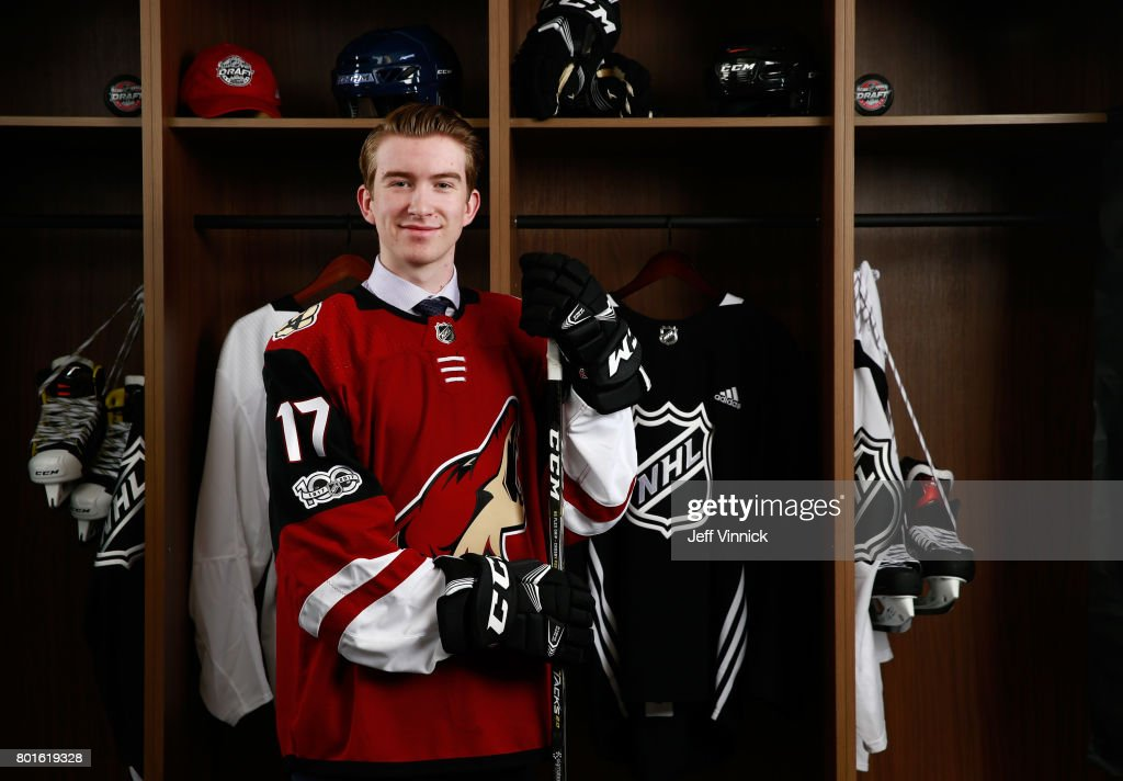 Cameron Crotty, 82nd overall pick of the Arizona Coyotes, poses for a portrait during the 2017 NHL Draft at United Center on June 24, 2017 in Chicago, Illinois.