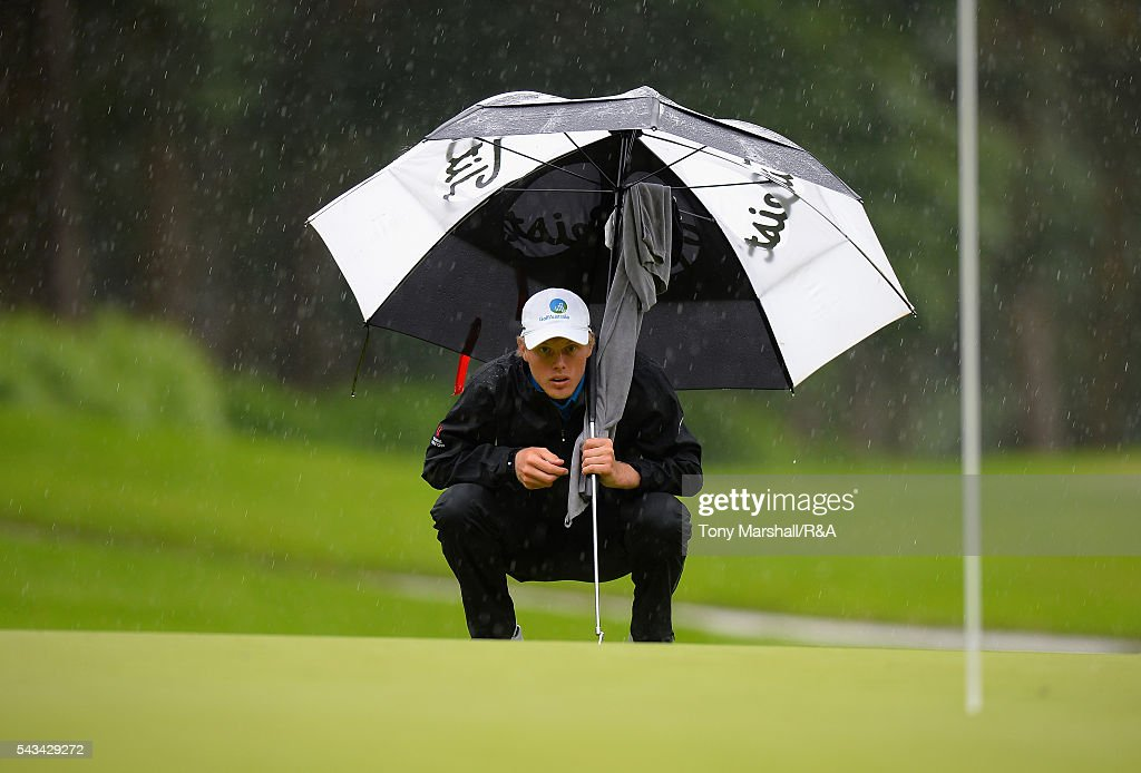 Cameron Davis (A) of Australia lines up his putt on the 9th green during the Open Championship Qualifying - Woburn at Woburn Golf Club on June 28, 2016 in Woburn, England.