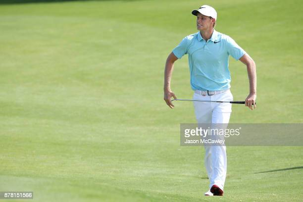 Cameron Davis of Australia reacts on the 3rd hole during day two of the 2017 Australian Golf Open at the Australian Golf Club on November 24 2017 in...