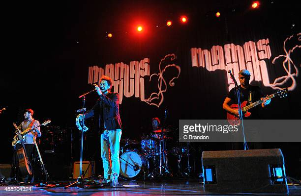 Cameron Dawson Andy Platts Jack Pollitt and Terry Lewis of Mamas Gun perform on stage at the Royal Festival Hall on September 10 2014 in London...