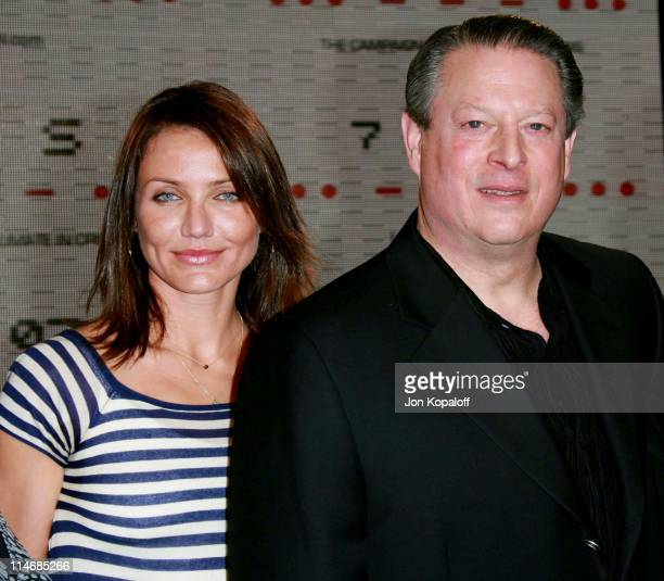 "Cameron Diaz and Al Gore during Al Gore Announces ""Save Our Selves"" Global Climate Crisis Campaign Concert February 15 2007 at California Science..."