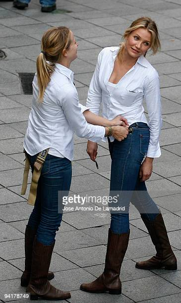 Cameron Diaz and her stunt double seen during the shooting of the film 'Knight and Day' on December 9 2009 in Seville Spain
