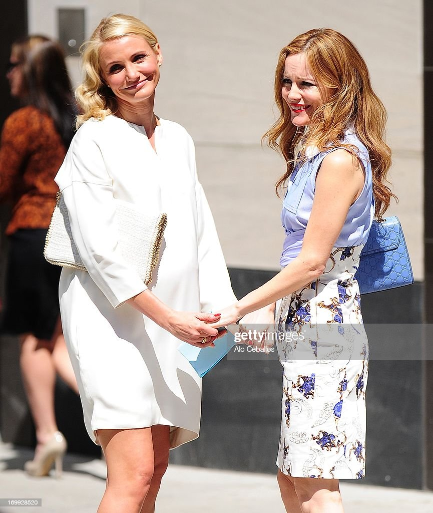 Cameron Diaz and Leslie Mann are seen on the set of 'The Other Woman' on June 4, 2013 in New York City.