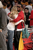 Cameron Diaz and Sean 'P Diddy' Combs hug at the Los Angeles Lakers vs San Antonio Spurs Western Conference Game 5 at the Staples Center on May 29...