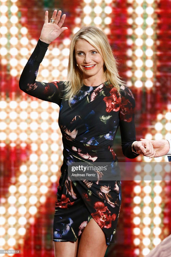 <a gi-track='captionPersonalityLinkClicked' href=/galleries/search?phrase=Cameron+Diaz&family=editorial&specificpeople=201892 ng-click='$event.stopPropagation()'>Cameron Diaz</a> arrives on stage for the 'Wetten, dass..?' tv show on April 5, 2014 in Offenburg, Germany.