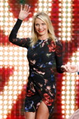 Cameron Diaz arrives on stage for the 'Wetten dass' tv show on April 5 2014 in Offenburg Germany
