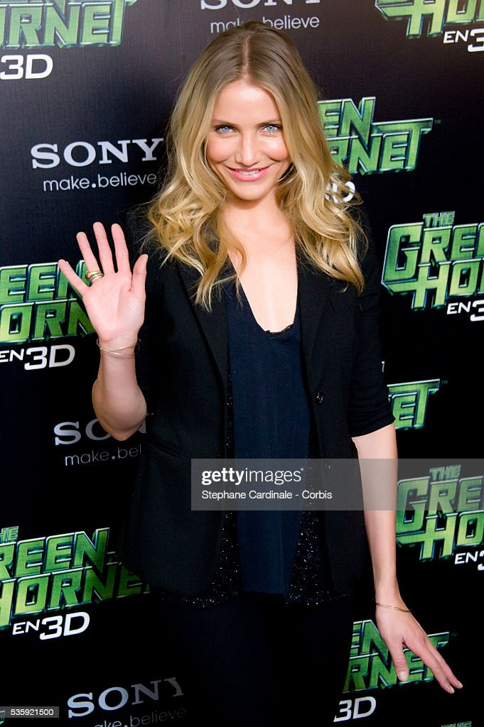 Cameron Diaz attends the photocall for the Michel Gondry film 'The Green Hornet', in Paris.