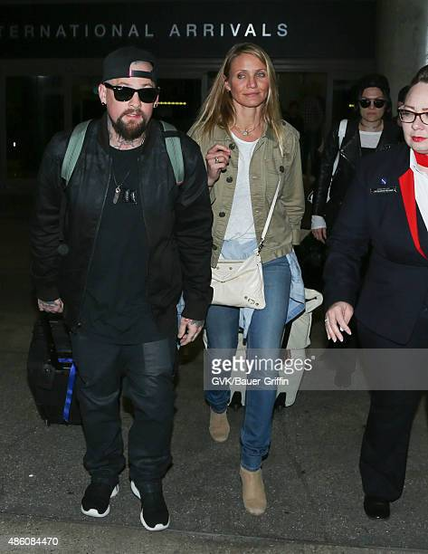 Cameron Diaz Benji Madden and Jessie J are seen at LAX on August 31 2015 in Los Angeles California