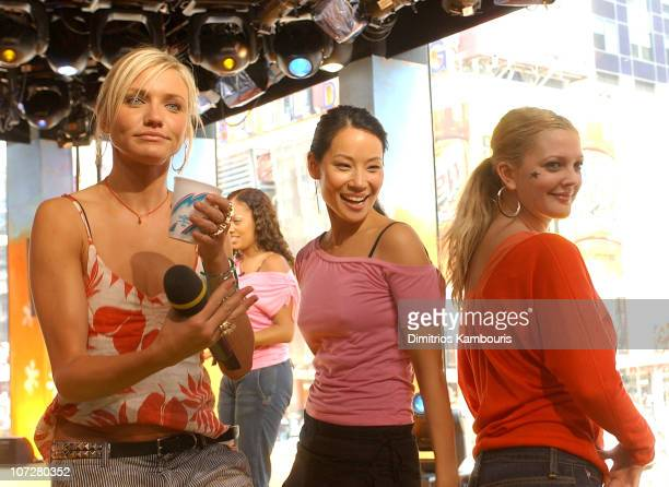 Cameron Diaz Lucy Liu and Drew Barrymore during 'Charlie's Angels Full Throttle' Cast and 'Terminator 3 Rise of the Machines' Kristanna Loken Visit...